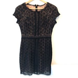 BCBGMaxAzria | black lace dress with short sleeves